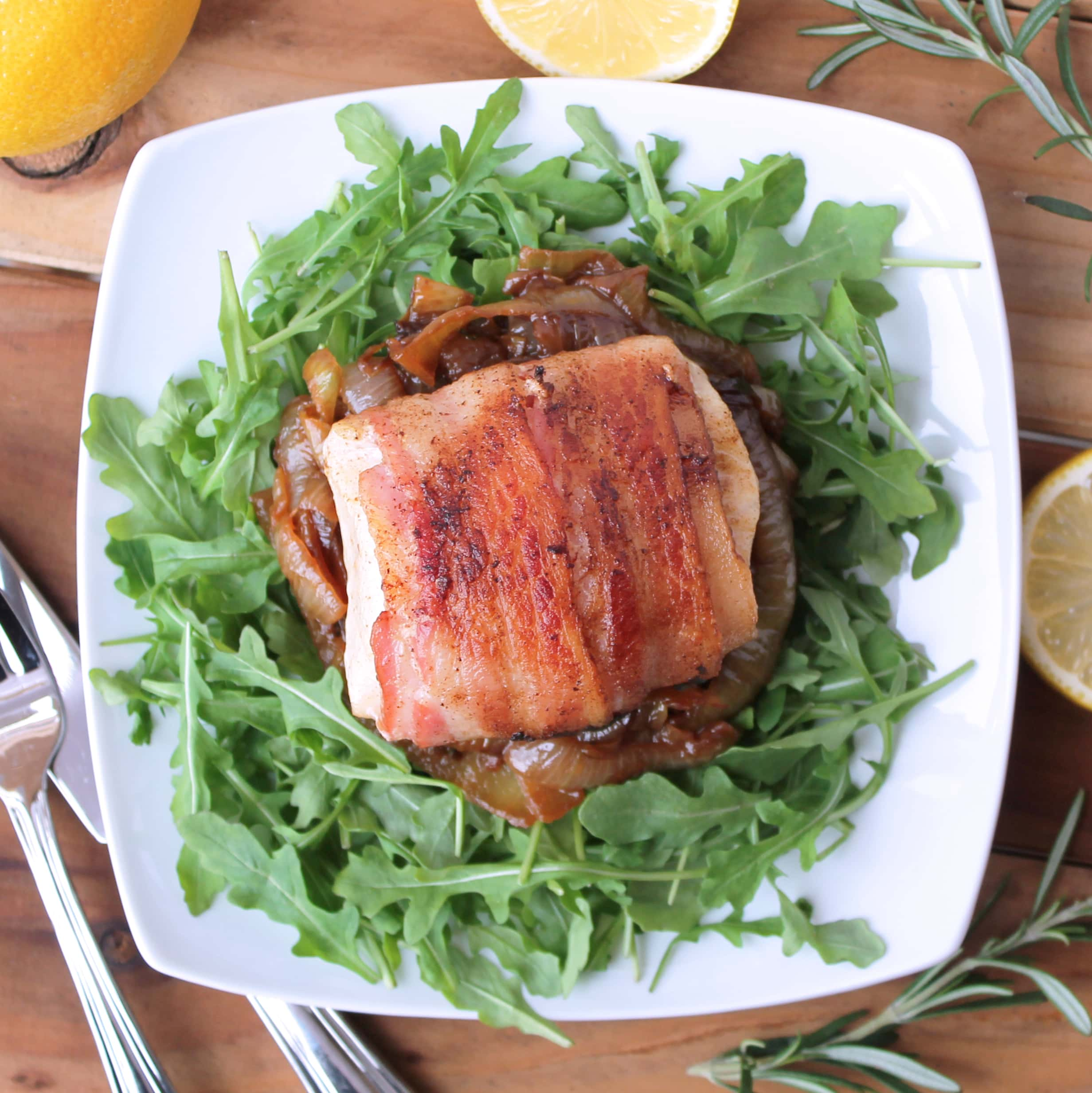 Bacon wrapped cobia fillets with rosemary caramelized for Cobia fish recipe