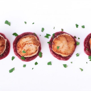 Seared Sea Scallops with Beet & Roasted Garlic Purée