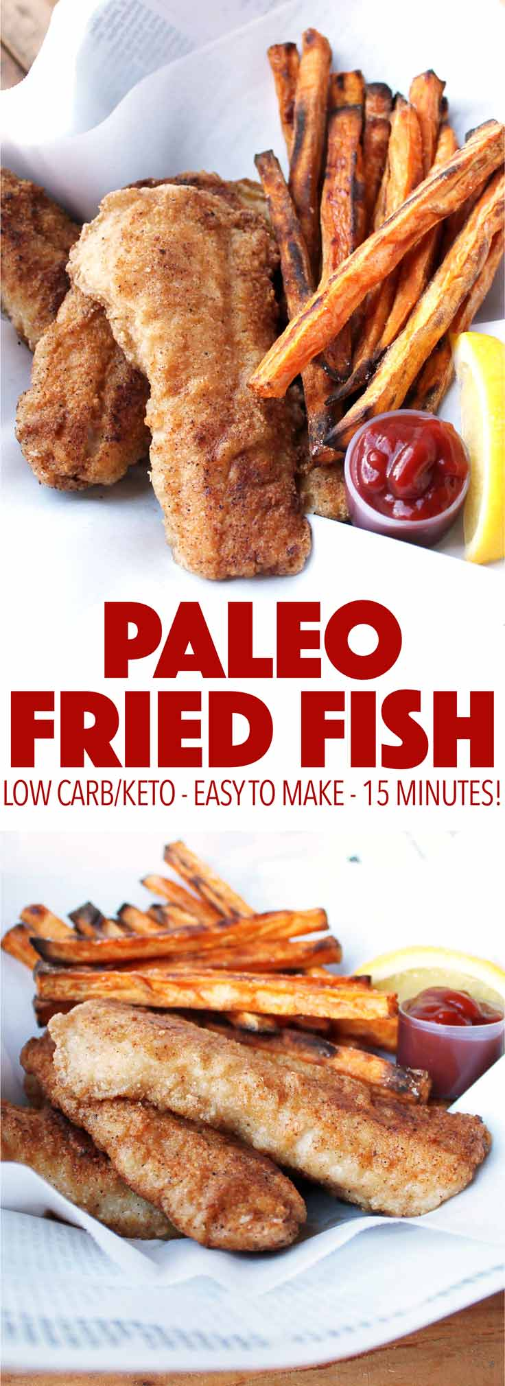 Fried fish made paleo! Easy to make and just as delicious as traditional fried fish! Gluten free, dairy free, low carb, keto.