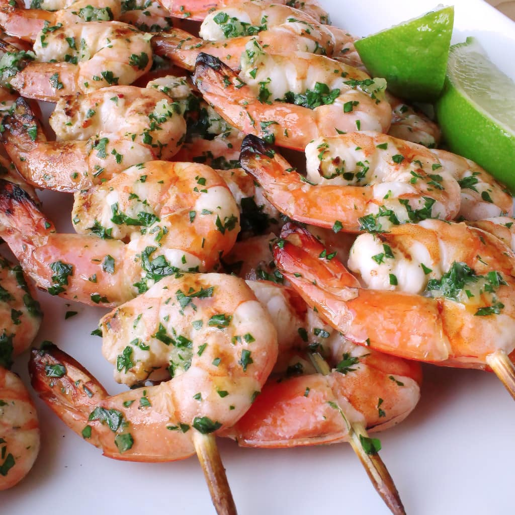 Grilled Shrimp with Cilantro Garlic Butter | Kit's Coastal | #kitscoastal #coastalpaleo