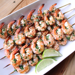 Grilled Shrimp with Cilantro Garlic Butter
