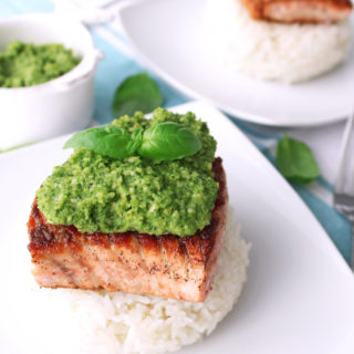 Pan-Seared Salmon with Macadamia Pesto