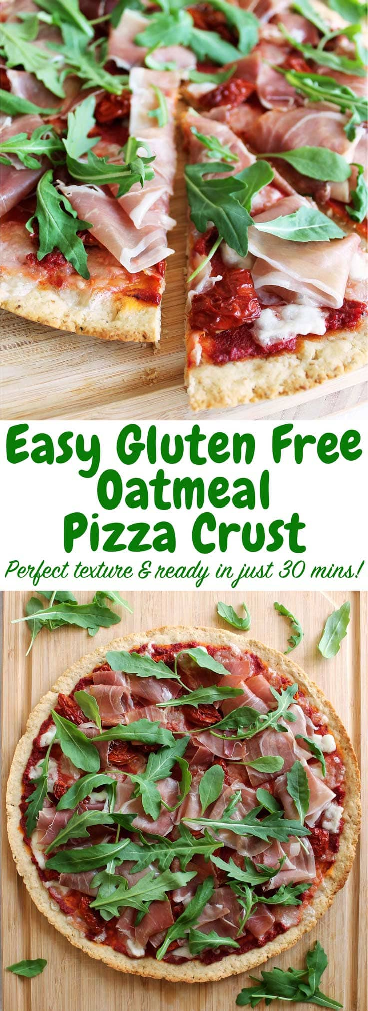 Finally, a delicious gluten free pizza crust! This oatmeal pizza crust is so simple to make and has only 6 ingredients! It is also dairy free!
