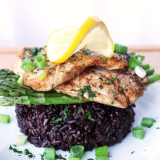 Pan-Seared Sea Bass with Asparagus and Black Rice