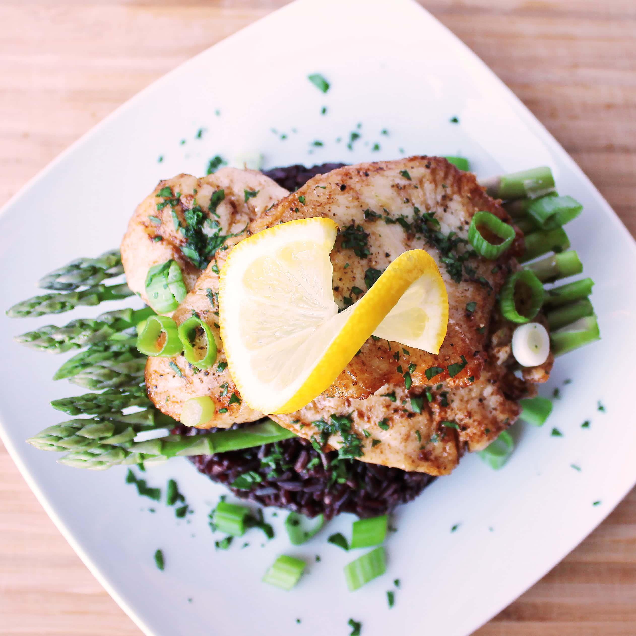Pan Seared Sea Bass With Asparagus And Black Rice Kit S Coastal Kitscoastal