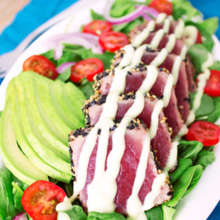 Sesame-Crusted Seared Ahi Tuna Salad with Creamy Wasabi Dressing