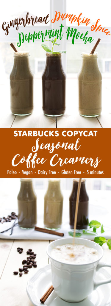 Starbucks Copycat Seasonal Coffee Creamers | Kit's Coastal | #kitscoastal #coastalpaleo #paleo #glutenfree #dairyfree #vegan
