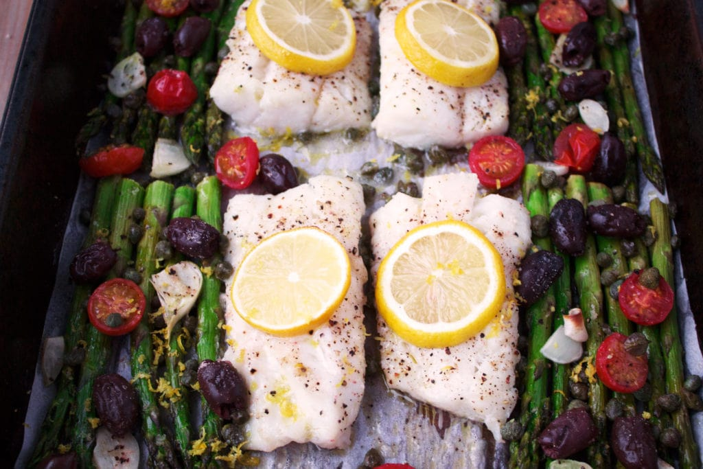 One Pan Roasted Mediterranean Cod | Kit's Coastal | #kitscoastal #coastalpaleo #paleo #glutenfree #dairyfree #cod #onepan #sheetpan