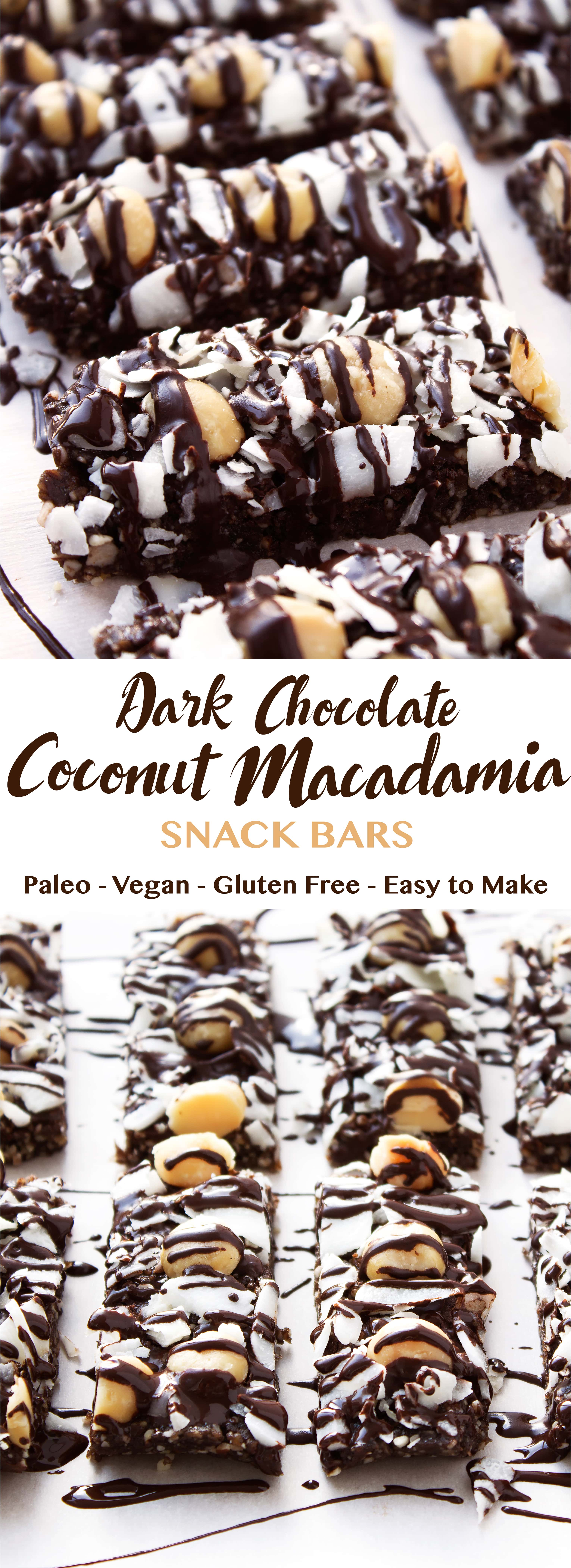 Dark Chocolate Coconut Macadamia Snack Bars | Kit's Coastal | #kitscoastal #coastalpaleo #paleo #glutenfree #vegan #dairyfree