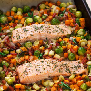 One Pan Roasted Rosemary Salmon with Sweet Potato, Bacon, Apple, & Brussels Sprouts