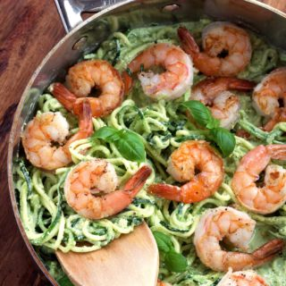 Creamy Pesto Shrimp and Zoodles