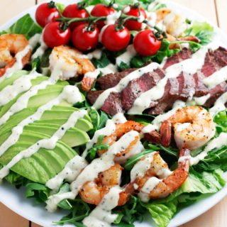 Surf and Turf Salad with Garlic Peppercorn Dressing
