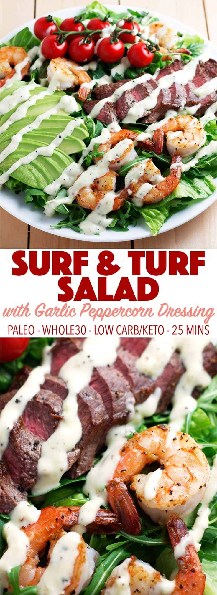 A healthy, fresh dinner in just 25 mins. This delicious salad is full of flavor! It's paleo, dairy free, whole30, keto, and low carb!