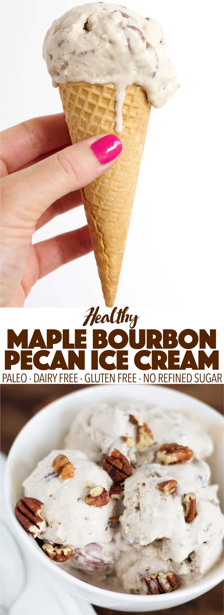 Healthy and simple to make, this maple bourbon pecan ice cream is paleo and dairy free! It's the perfect dessert for a hot summer night. Or really any time!