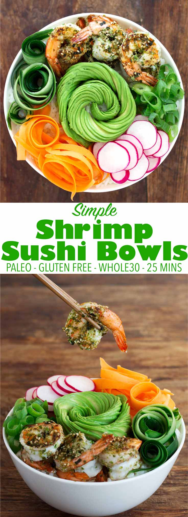 These sushi bowls only take 25 mins to make and are perfect for a quick weeknight meal. They are gluten free and can be made paleo and low carb/keto!