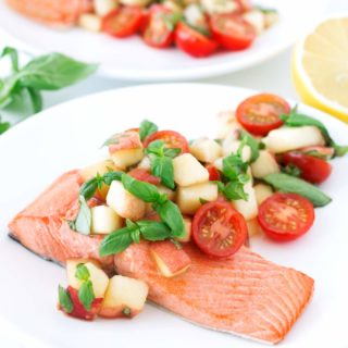 Rosé-Poached Salmon with Peach Tomato Basil Salad