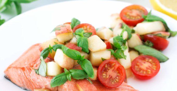 Rosé-Poached Salmon with Peach Tomato Basil Salad