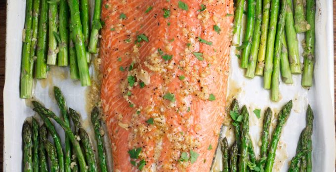 One Pan Maple Garlic Salmon and Asparagus
